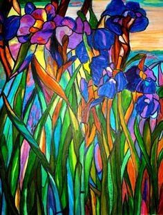 """""""Stained Glass Iris"""" This colourful painted design could be constructed in glass."""