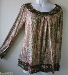 The Buckle's Daytrip SZ L Boho Baby Doll Top Floral Paisley Hippie Sublimation