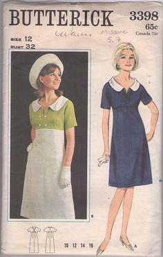 Butterick 3398 Vintage 60's Sewing Pattern Mod HIGH FASHION Empire Waist Contrast Color Bodice Slit Neck, Flat Collar Day Dress #MOMSPatterns