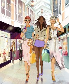 Shopping Day between Girlfirends / Giorno di compere tra Amiche - Illust: Lucy Truman