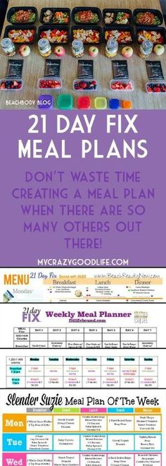 You don't have to spend hours creating a meal plan for the 21 Day Fix when there are already so many out there! Here are the most popular meal plans for the 21 Day Fix | 21 Day Fix Meal Plans by smurfet422