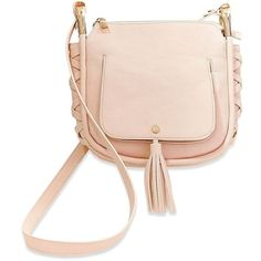 Steve Madden Bhadley Saddle Bag (4,560 INR) ❤ liked on Polyvore featuring bags, handbags, shoulder bags, bone, steve madden purses, shoulder strap purses, pink cross body purse, steve madden handbags and pink crossbody purse