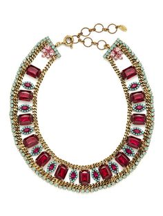 Pink, Turquoise, & Opal Crystal Necklace by Elizabeth Cole
