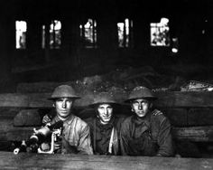 Soldiers of Company A, Ninth Machine Gun Battalion, on the front at Chateau-Thierry, France, June 7, 1918. - National Archives (111-SC-14654...