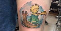 Artista Tatuador: Tania Catclaw. Tags: categorías, Acuarelas, Esbozos, Películas y libros, el principito. Partes del cuerpo: Muslo.