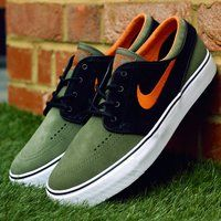Nike SB Zoom Stefan Janoski Medium Olive/Urban Orange Sneakers - $131