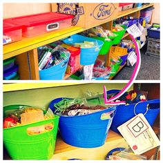 Clever Classroom Storage Solutions: Part 2  Dollar store open tubs are PERFECT for math manipulatives.  Keeping them out, but organized means you and your students will use them more!