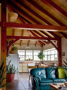 The original Newcomb timber frame cottage. Post and beam houseplans.