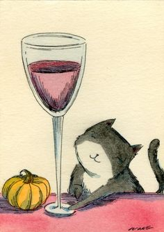 Have some wine with me, original painting by artist Nicole Wong | DailyPainters.com