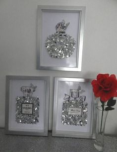 Chanel decor - Perfume bottles in silver glitter and Metallic You choose which one, two or 3 you would like VERY SPARKLY You may order one, or two or all 3 bottle pictures If there is another bottle you would lik Chanel Bedroom, Glam Bedroom, Silver Bedroom Decor, Silver Room, Modern Bedroom, Chanel Bedding, Music Bedroom, Bedroom Art, Contemporary Bedroom