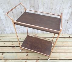 DIY Copper Pipe Bar Cart with Wood Shelves - Completed Cart