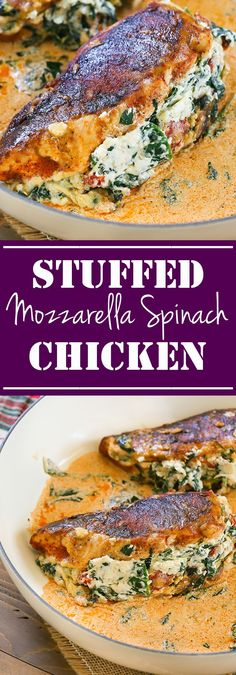 This Mozzarella Spinach Stuffed Chicken is easy to make and so flavorful! #recipe #chicken