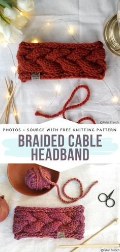 Cable Knitting Patterns, Free Knitting, Rockabilly Look, Knitted Headband Free Pattern, Winter Headbands, Knitting Accessories, Bandeau, Knitted Bags, Knitting Projects