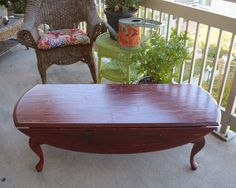 Vintage Drop Leaf Coffee Table In Distressed Red.