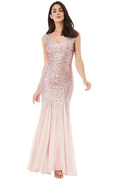 Sequin and Chiffon Maxi Dress - Rose - Front - DR627S