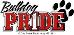 Vector - bulldog pride logo - stock illustration, royalty free illustrations, stock clip art icon, stock clipart icons, logo, line art, EPS picture, pictures, graphic, graphics, drawing, drawings, vector image, artwork, EPS vector art