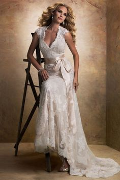 Shabby Chic Vintage Gold Ivory $$ - $701 to $1500 A-line Cap Sleeve Country Floor Lace Maggie Sottero Natural Sash/Belt Tulle V-neck Wedding Dresses Photos & Pictures - WeddingWire.com