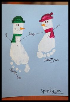 Footprint snowman craft for kids. #christmas #preachool