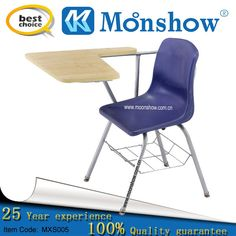 Wood student chair with writing pad