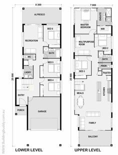 House Plans, Home Designs, Building Prices & Builders — Building Buddy Narrow House Plans, Two Story House Plans, Craftsman House Plans, Tiny House Plans, House Floor Plans, 6 Bedroom House Plans, Upside Down House, Duplex House, Tiny House Design