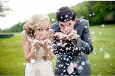 throwing sprinkles at a wedding pictures