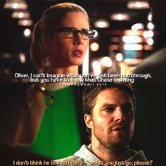 """#Arrow 5x18 """"Disbanded"""" - """"Oliver, I can't imagine what you've just been put though, but you have to know that Chase is wrong. I don't think that he is, and I can't- would you just go, please?"""" - #FelicitySmoak #OliverQueen"""