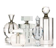 I love crystal perfume bottles.  They look so pretty when grouped together in the bedroom or bathroom.