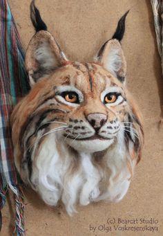 Beispiel Lynx Kopf Nadel gefilzte Wand Eco Dekoration weiche Skulptur Wolle Tier Figur Faux Präparatoren handgemachte Totem OOAK Art Puppe