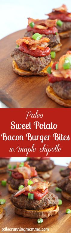 Paleo Sweet Potato Bacon Burger Bites with Maple Chipotle Ketchup. A healthy, clean eating appetizer that is paleo friendly as well! Pin now to make for your next get together. Whole 30 Recipes, Whole Food Recipes, Cooking Recipes, Healthy Recipes, Ground Bison Recipes Healthy, Smoker Recipes, Rib Recipes, Burger Recipes, Cooking Tips