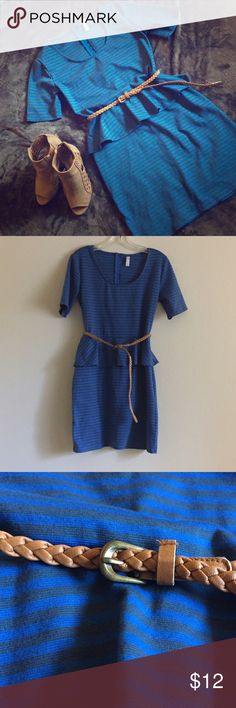 Striped Peplum Dress This dress features a blue/grey stripe design with a tan leather belt. Zipper closure in the back. Very cute and flattering when worn. Skirt is mid length. Bundle and save! ✨ Xhilaration Dresses Midi