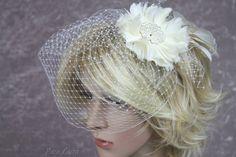 Short Cream Birdcage Veil Cage Veil Russian by BouquetByRosaLoren