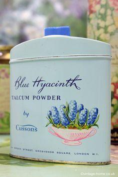 Vintage Home - Beautiful Blue Hyacinth Talc Tin.