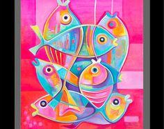 Bodegón de vino cubista pintura abstracta Original por MarlinaVera