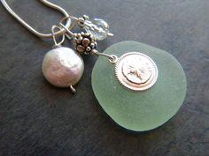 Sea Glass Jewelry Necklace Sand Dollar by TheMysticMermaid