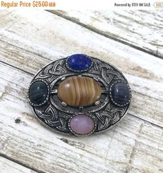 50% OFF Celtic Brooch Vintage Miracle Brooch with colorful glass gemstones Brooch with agate Rhinestones unsigned Brooch. Silvertone kilt by TheOldJunkTrunk