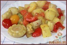 Рецепт: Картошка с овощами в духовке