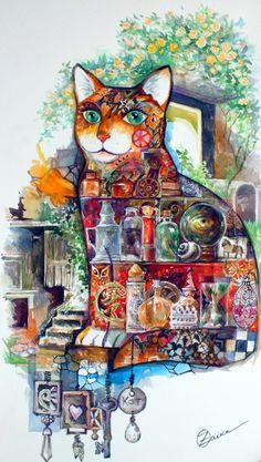 Mystique chat - Peinture,  29x53 cm ©2015 par Oxana Zaika -                                                            Art figuratif, Papier, Chats, chat, design, art, nature morte, animal