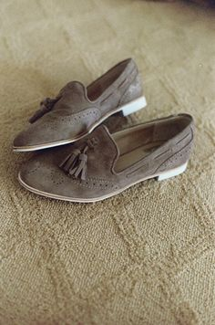 These came in the mail last week! My new favorite pair of lady loafers, in sand gray suede.