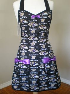 Baltimore Ravens Inspired apron Ready to ship by HauteMessThreads,