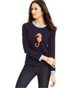 Jones New York Signature Petite Long-Sleeve Seahorse Sweater - Sweaters - Women - Macy's