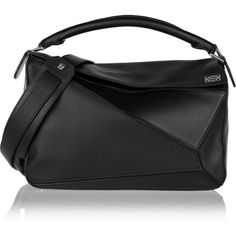 Loewe Puzzle small leather shoulder bag (8,430 ILS) ❤ liked on Polyvore featuring bags, handbags, shoulder bags, black, crossbody purses, leather cross body purse, leather crossbody, leather shoulder handbags and real leather purses
