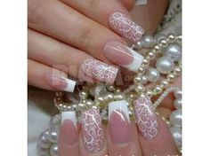 In this post, you can see the Funky French Nail Art Designs. Here I present the latest french nail designs see this and select best French Nail Art for you. Lace Nail Design, Lace Nail Art, Lace Nails, Wedding Nails Design, Wedding Manicure, Nail Wedding, Jamberry Wedding, French Nail Designs, Nail Art Designs