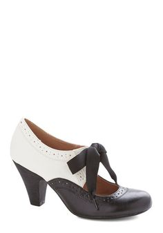 Book Signing Soiree Heel in Black by Chelsea Crew - Mid, Faux Leather, Black, White, Solid, Party, Vintage Inspired, 20s, 30s, Better