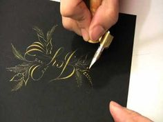 ▶ Heather Victoria Held: A Christmas Flourish  Heather uses pointed pen and diluted gold Fine-tec paint to create this flourished card.  Notice that she rotates the paper so that she is always pulling the pen towards her for heavy strokes. She uses pressure and release to get thick and thin lines, and the lightest of touches on the fine details.