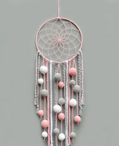 Pink nursery dream catcher Kids room decor wall hanging Christmas gift for baby girl Dreamcatcher with pompoms Baby shower gift - This pink, gray and white dream catcher is a beautiful room for baby girl room. Dream Catcher Pink, Dream Catcher Nursery, Dream Catcher Craft, Diy Dream Catcher For Kids, Doily Dream Catchers, Dream Catcher Mobile, Baby Girl Gifts, Gifts For Girls, Baby Girls