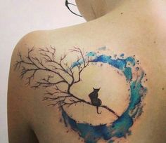 Watercolor moon with black cat tattoo