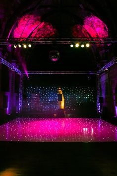 Wedding lighting at Peckforton Castle with White LED Dance floor and Stage Set and Event Lighting from Hipswing