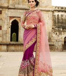 Buy Pink embroidered net saree with blouse bridal-saree online