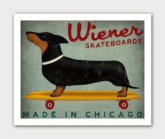 FREE SHIPPING Made To Order Wiener Dog Dachshund Skateboards  - 8X10 inch Archival Giclee Print Signed. $39.00, via Etsy.
