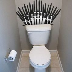 Funny pictures about The Porcelain Throne. Oh, and cool pics about The Porcelain Throne. Also, The Porcelain Throne photos. Game Of Thrones Party, Game Of Thrones Funny, Sticker Toilette, Toilet Wall, Got Party, Game Of Trones, Geek Crafts, Wall Decals, Geek Stuff